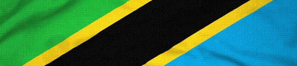 Tanzanian flag in green, blue, yellow and black, as used by Tanzanian tour companies
