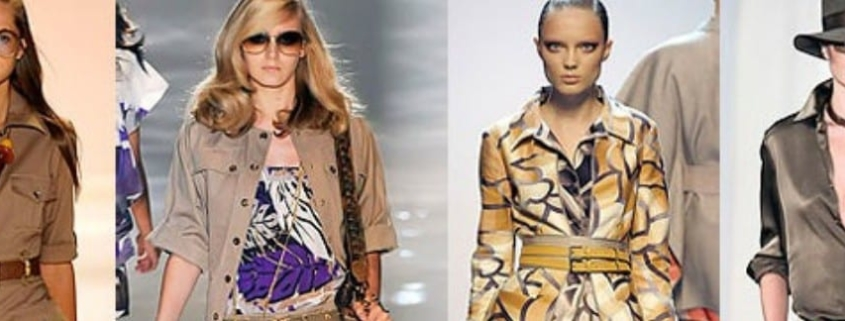 Four female runway models dressed in high-fashion - but very inappropriate - safari outfits