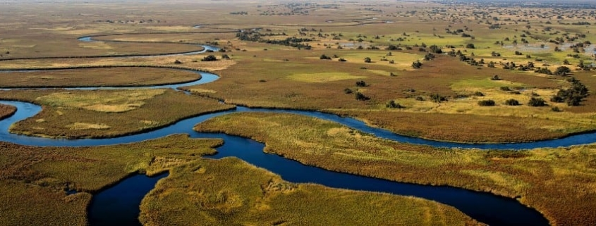 Moermi game reserve from the air with very windy river cutting through flat green marshy landscape and some trees dotted around