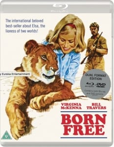 Picture of Born Free movie DVD cover with animation of lady hugging a lion and a male hunter in safari clothes behind