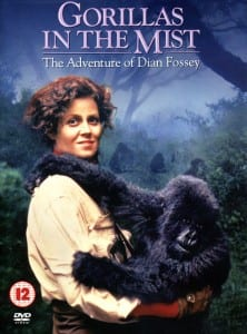 Gorillas in the mist DVD cover - Sigourney Weaver holding baby gorilla