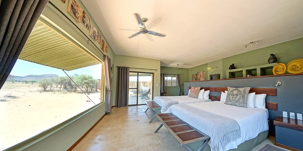 okonjima plains camp luxurious bedroom with view