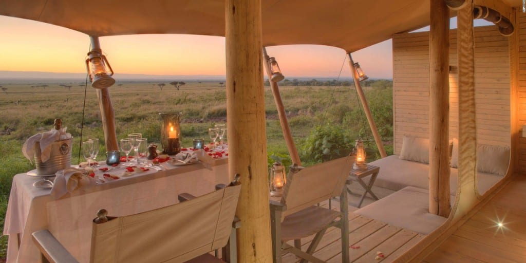 verandah with view over african savannah at sunset