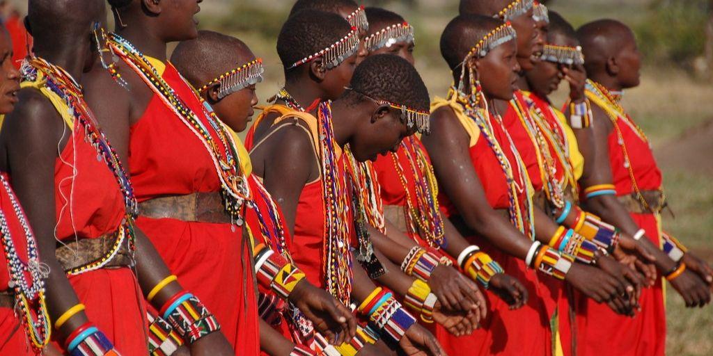 masai tribeswomen standing in a line