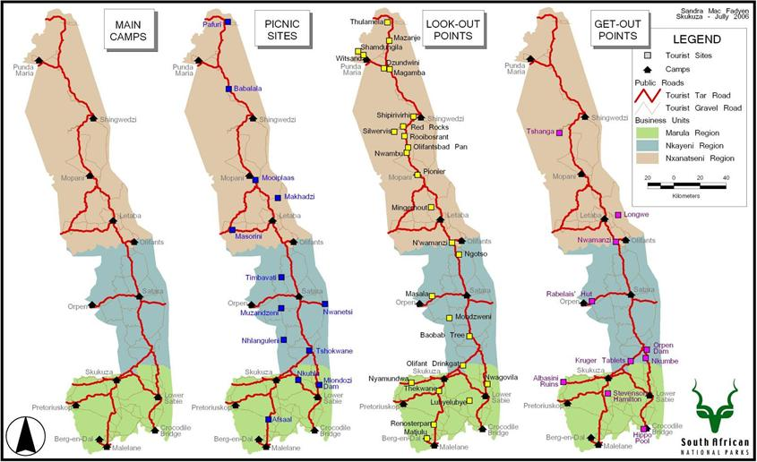 kruger national park map showing rest camps, park gates and picnic spots