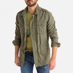 mid length men's safari jacket in khaki