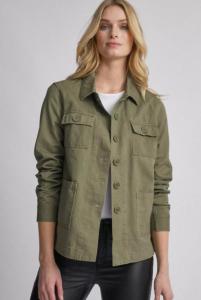 mid length women's safari jacket in khaki
