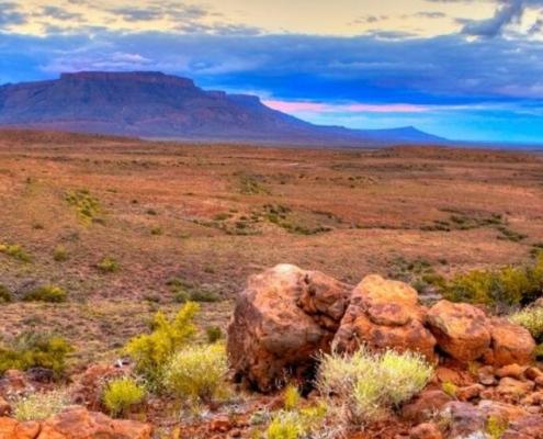 Karoo desert at sunset
