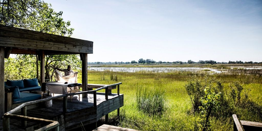 Vumbura Okavango Camp view into the green bush