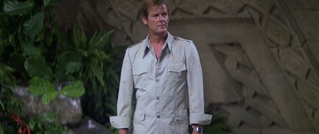 roger moore in 1970's safari suit